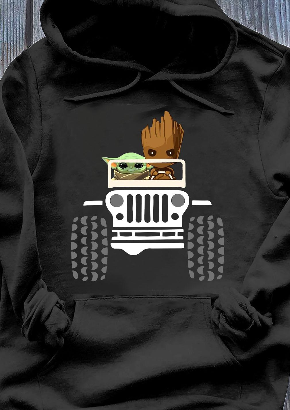 Baby Yoda And Baby Groot Driving Jeep Shirt Hoodie