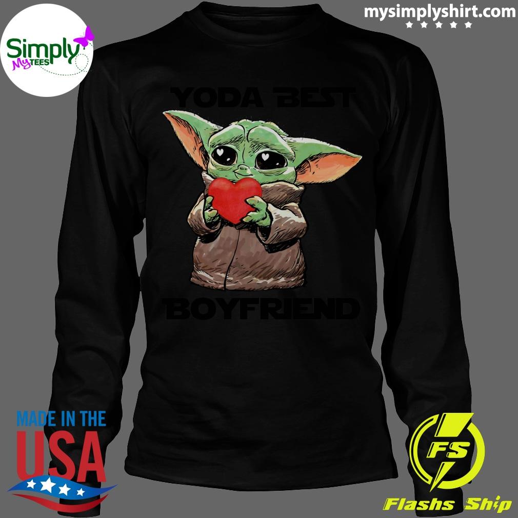 Baby Yoda Best Boyfriend Shirt Longsleeve black