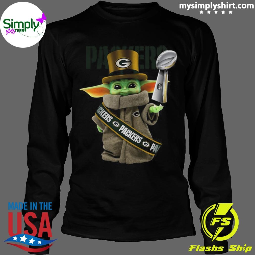 Baby Yoda Green Bay Packer Cup shirt Longsleeve black