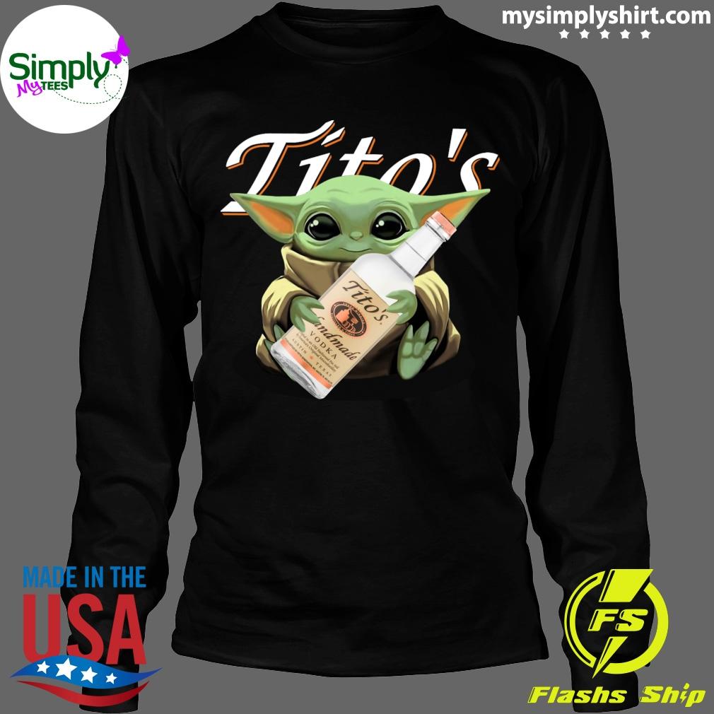 Baby Yoda Hugging Tito's Vodka shirt Longsleeve black