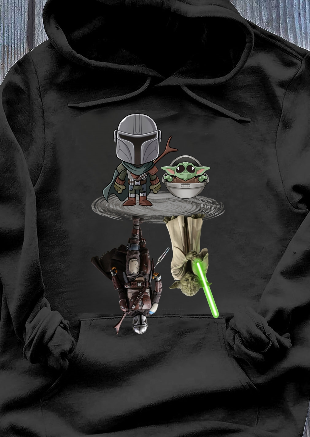 The Mandalorian water mirror reflection Baby Yoda Boba Fett shirt Hoodie