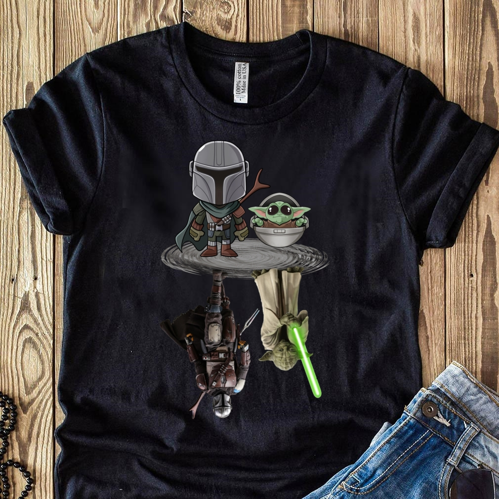 The Mandalorian water mirror reflection Baby Yoda Boba Fett shirt