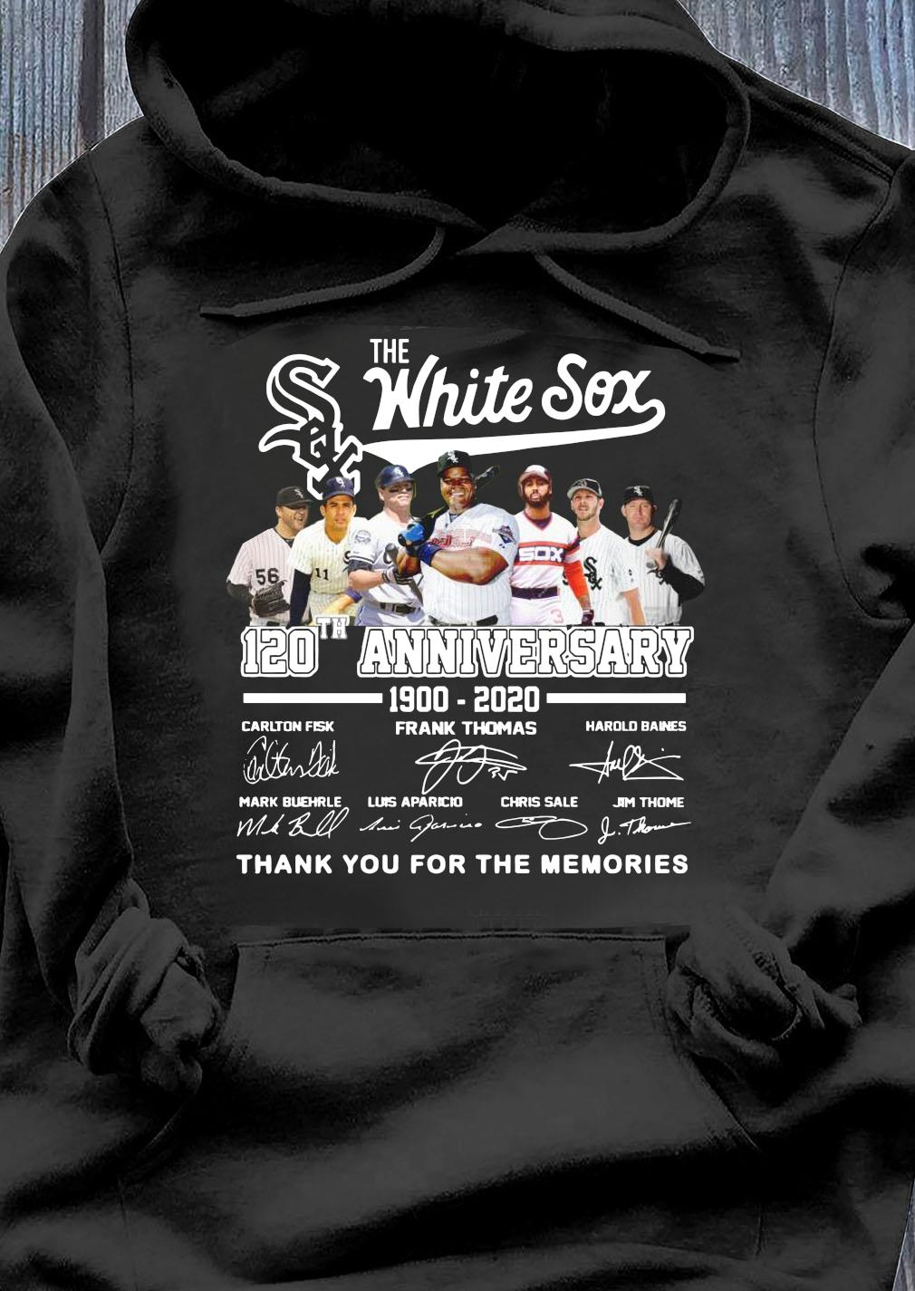 Awesome The White Sox 120th Anniversary 1900-2020 Thank You For The Memories Signatures Shirt Hoodie