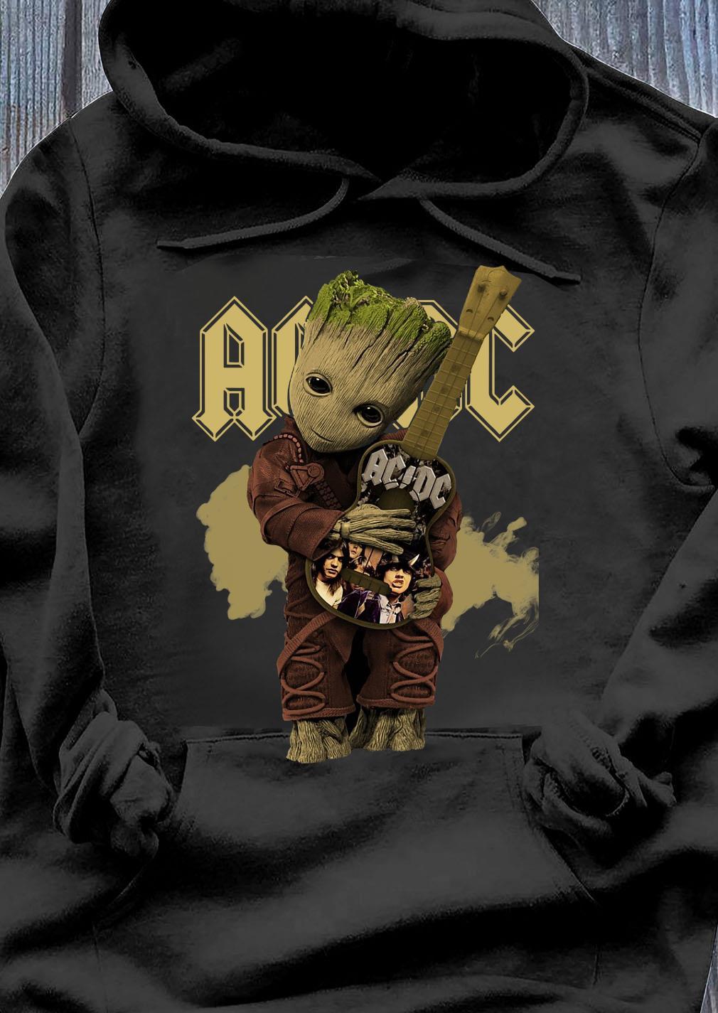 Baby Groot Hug Guitar Acdc Band Shirt Hoodie