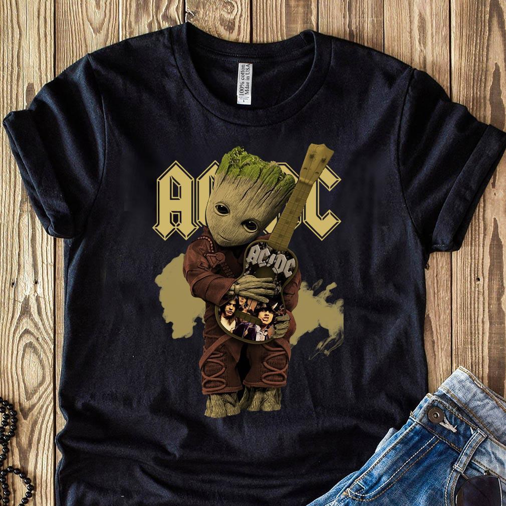 Baby Groot Hug Guitar Acdc Band Shirt