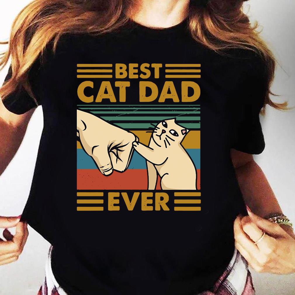 Best Cat Dad Ever Retro Vintage Shirt Ladies tee