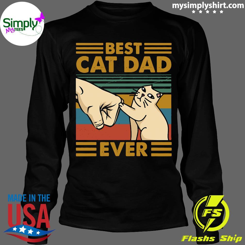 Best Cat Dad Ever Retro Vintage Shirt Longsleeve