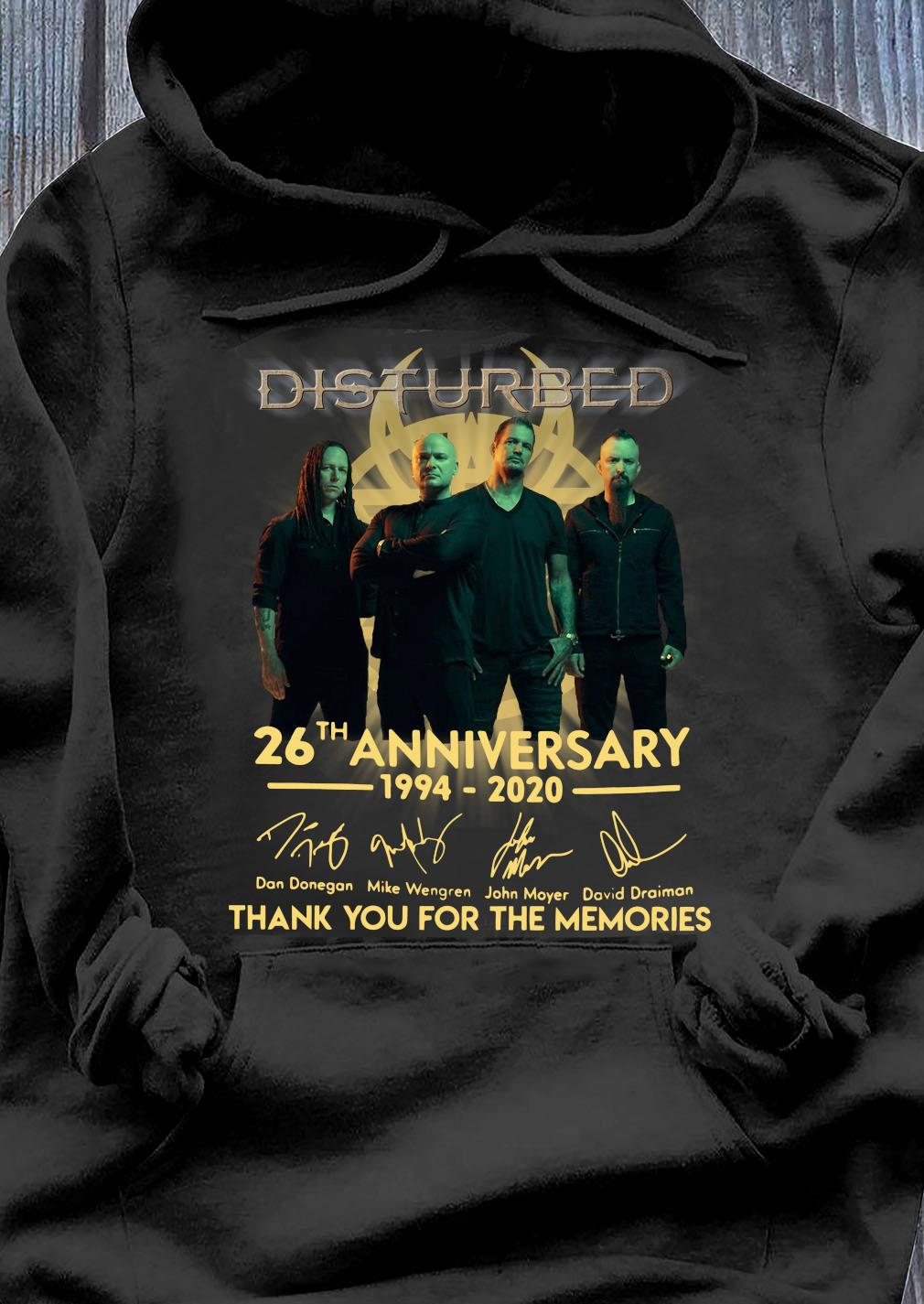 Disturbed 26th Anniversary 1994 2020 Thank You For The Memories Shirt Hoodie