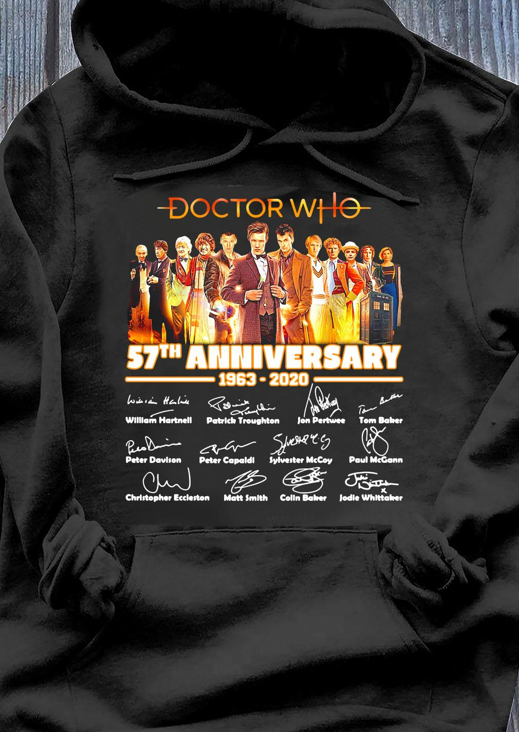 Doctor Who Tv Movies 57th Anniversary 1963-2020 Signature Shirt Hoodie