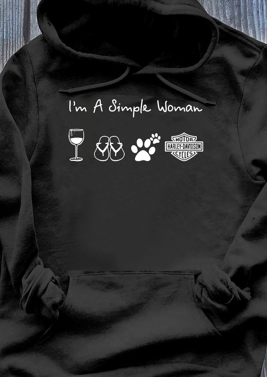 I'm A Simple Woman Wine Flip Flop Dog Paw Harley Davidson Logo Shirt Hoodie