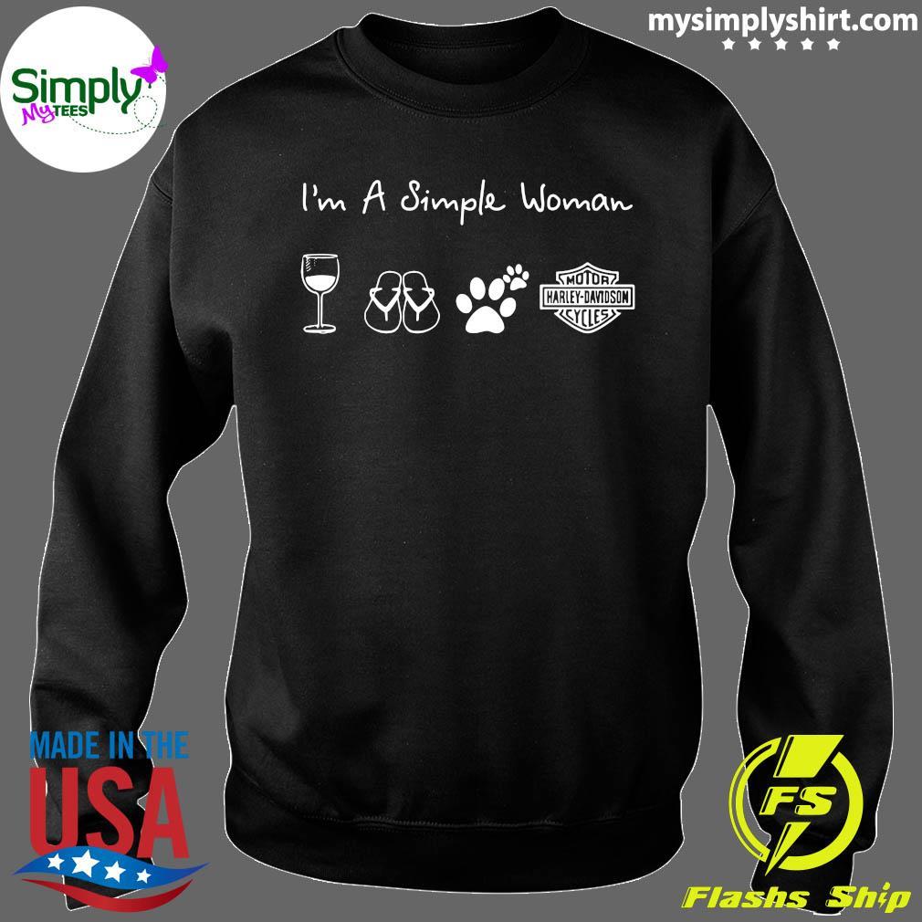 I'm A Simple Woman Wine Flip Flop Dog Paw Harley Davidson Logo Shirt Sweater