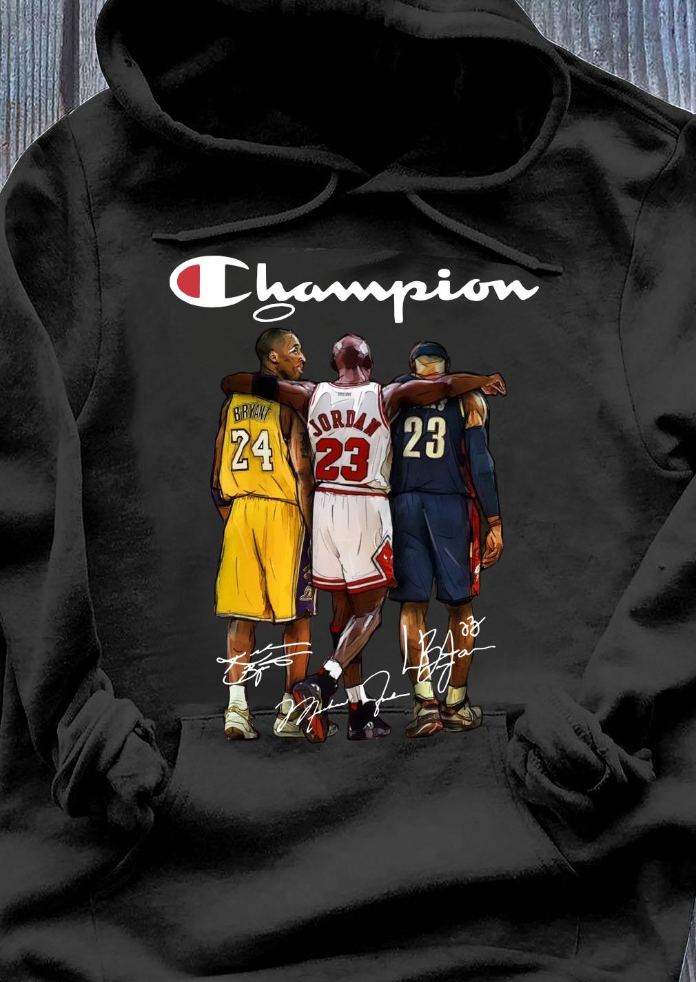 Kobe Bryant 24 Michael Jordan 23 LeBron James 23 Champion Signature Shirt Hoodie