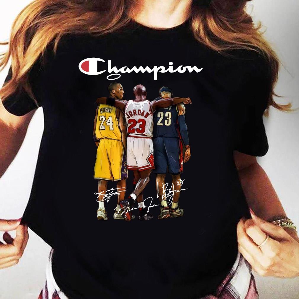 Kobe Bryant 24 Michael Jordan 23 LeBron James 23 Champion Signature Shirt Ladies tee