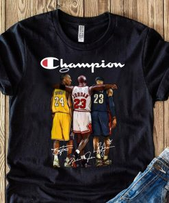Kobe Bryant 24 Michael Jordan 23 LeBron James 23 Champion Signature Shirt