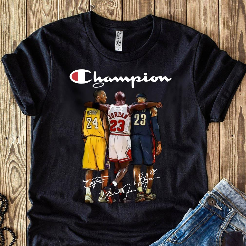 Kobe Bryant 24 Michael Jordan 23 LeBron James 23 Champion Signature Shirt