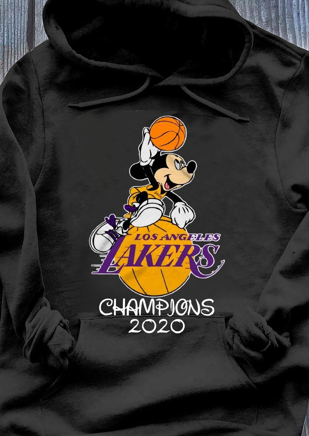 Mickey Mouse Los Angeles Lakers Champions 2020 Shirt Hoodie