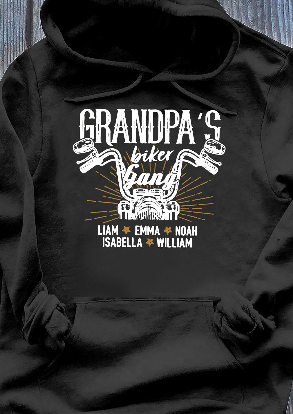 Motorcycle Grandpa's Biker Gang Llama Emma Noah Isabella William Shirt Hoodie
