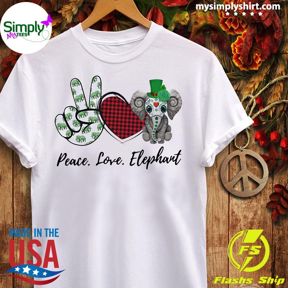 Peace Love Elephant Shirt Ladies tee