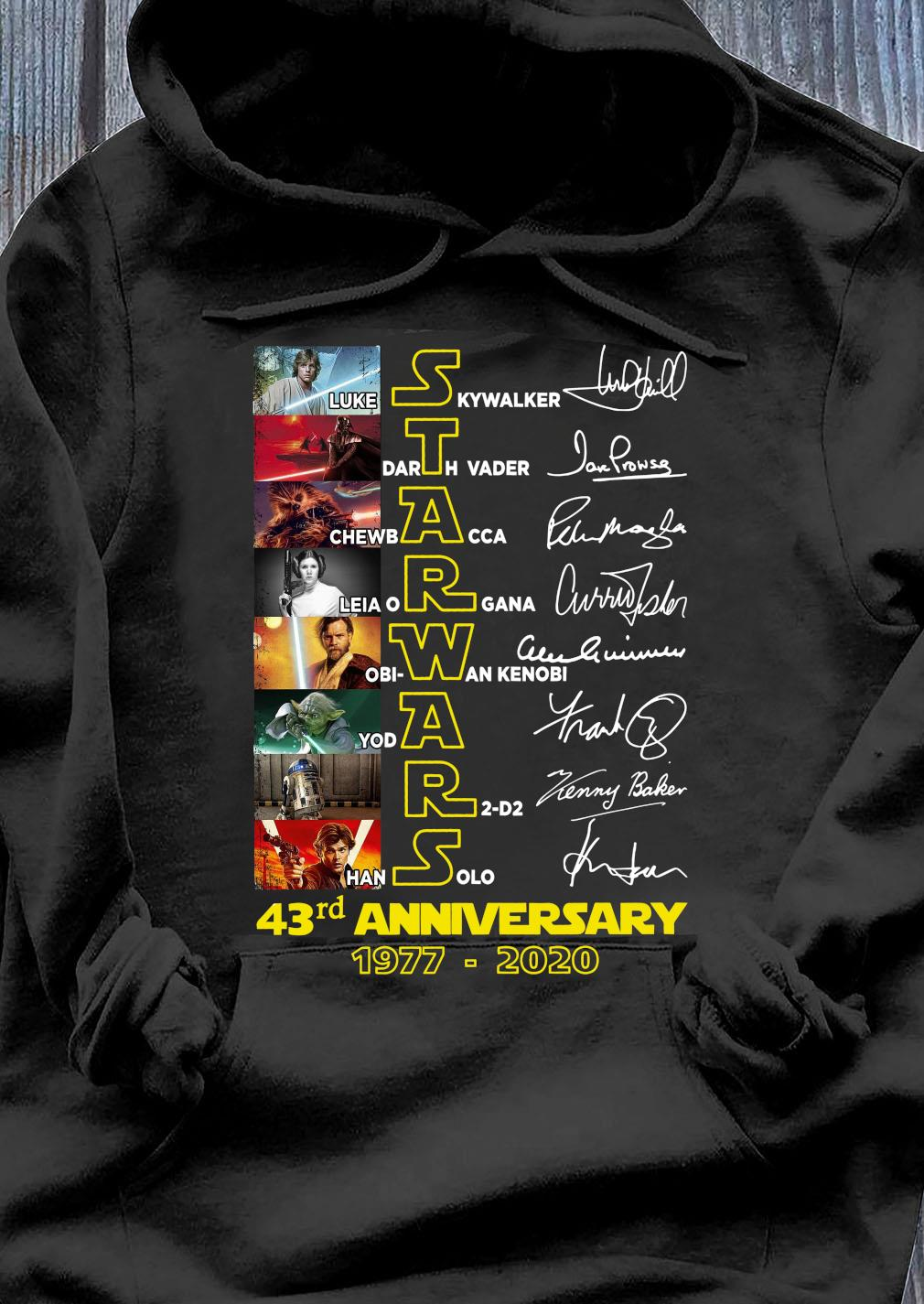 Star Wars 43 Years 1977-2020 Signatures Shirt Hoodie