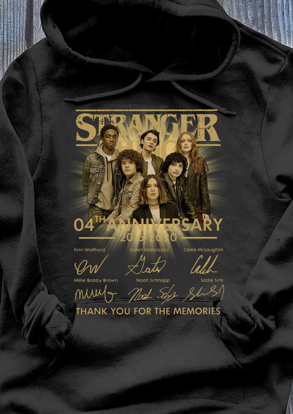 Stranger Things 04th Anniversary 2016-2020 Signatures Thank You For The Memories Shirt Hoodie