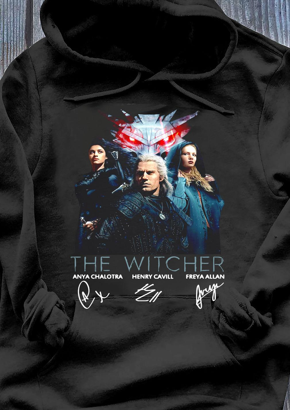 The Witcher Tv Movies Series Anya Chalotra Henry Cavill And Freya Allan Signature Shirt Hoodie