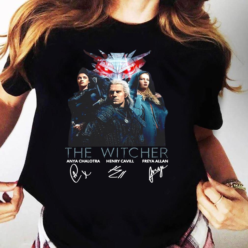 The Witcher Tv Movies Series Anya Chalotra Henry Cavill And Freya Allan Signature Shirt Ladies tee