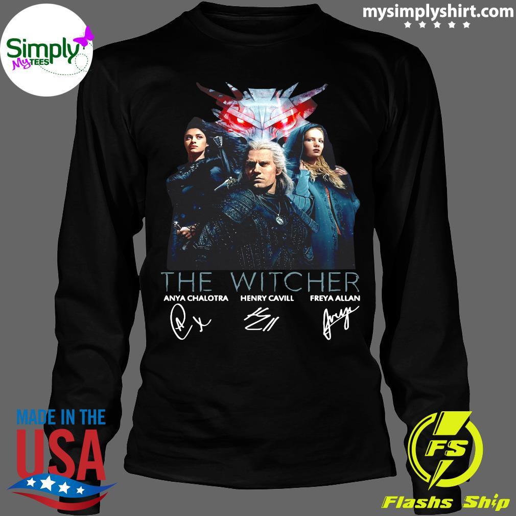 The Witcher Tv Movies Series Anya Chalotra Henry Cavill And Freya Allan Signature Shirt Longsleeve