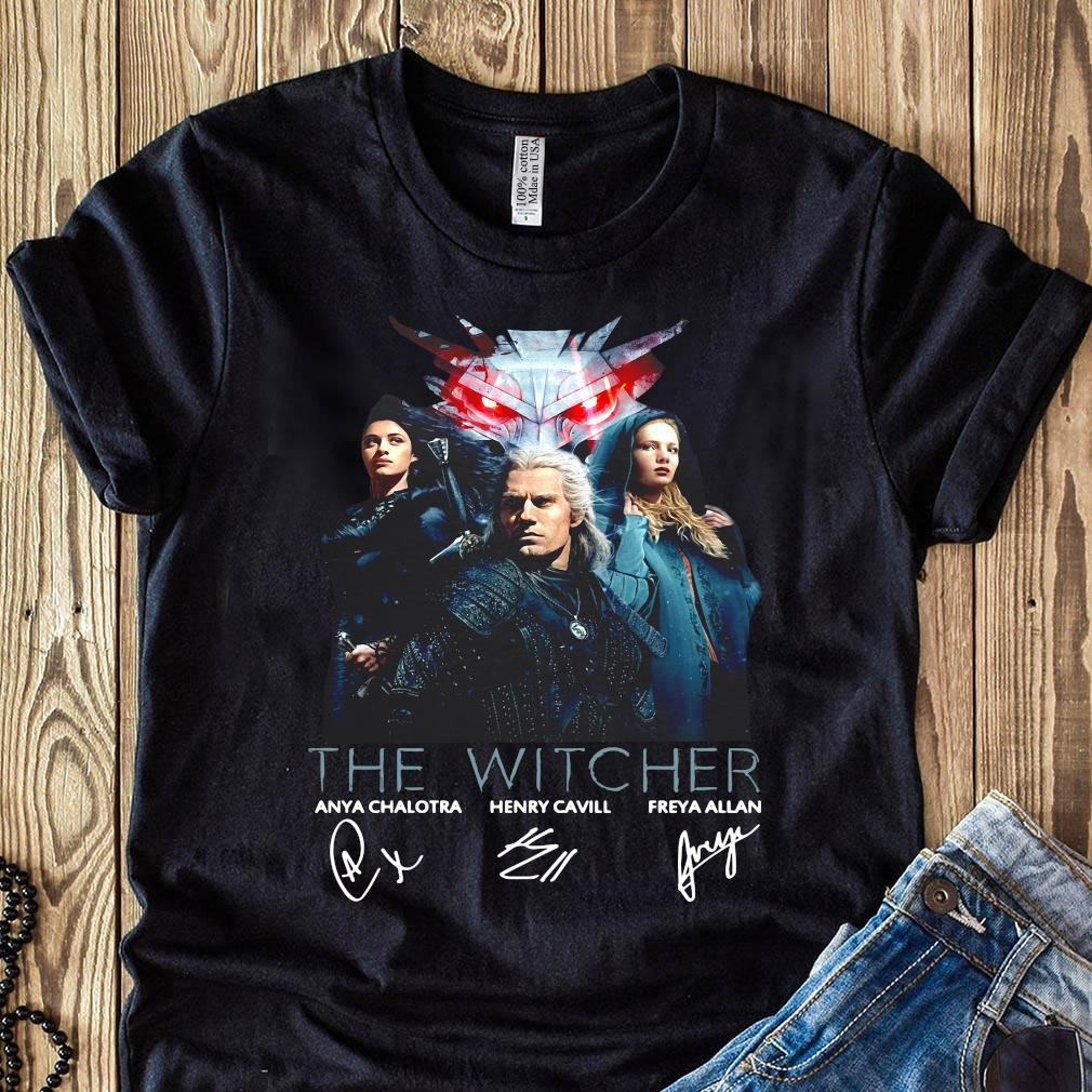 The Witcher Tv Movies Series Anya Chalotra Henry Cavill And Freya Allan Signature Shirt