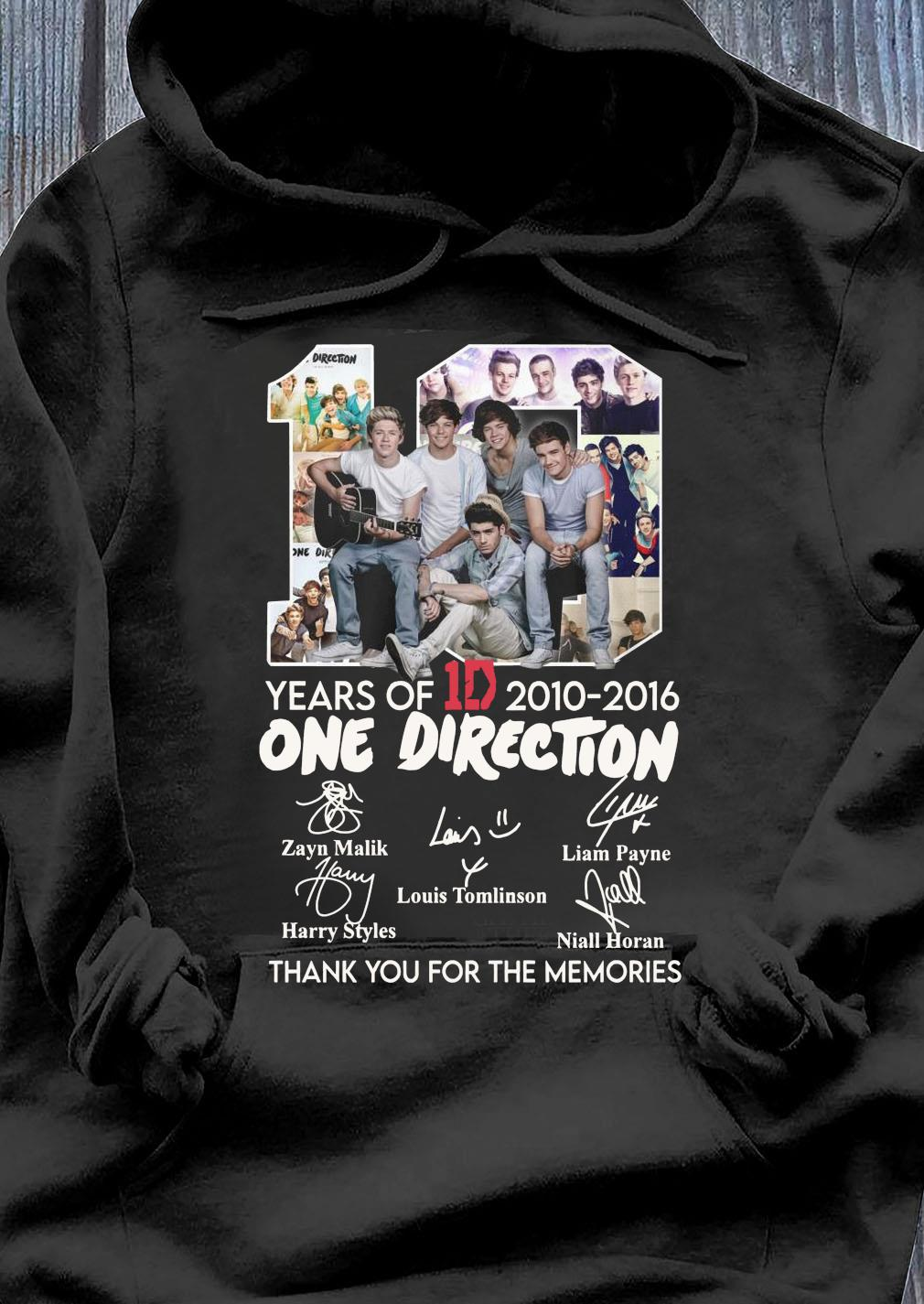 10 Years Of 1d 2010 2016 One Direction Thank You For The Memories Signatures Shirt Hoodie