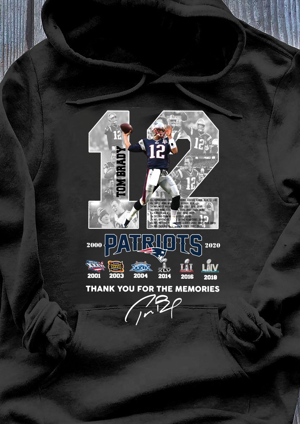 12 Tom Brady Patriots Thank You For The Memories Signature Shirt Hoodie