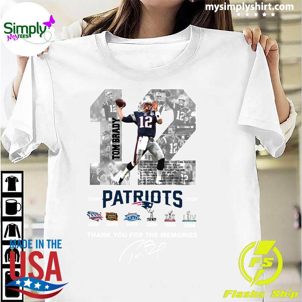12 Tom Brady Patriots Thank You For The Memories Signature Shirt