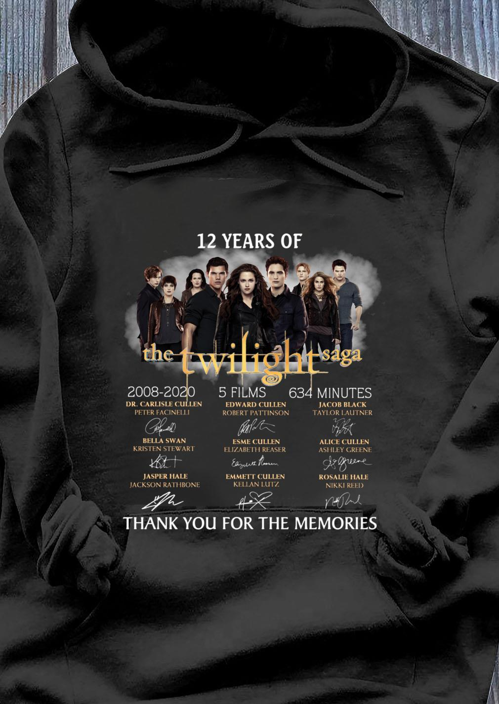 12 Years Of The Twilight Saga 2008 2020 Signature Thank You For The Memories Shirt Hoodie