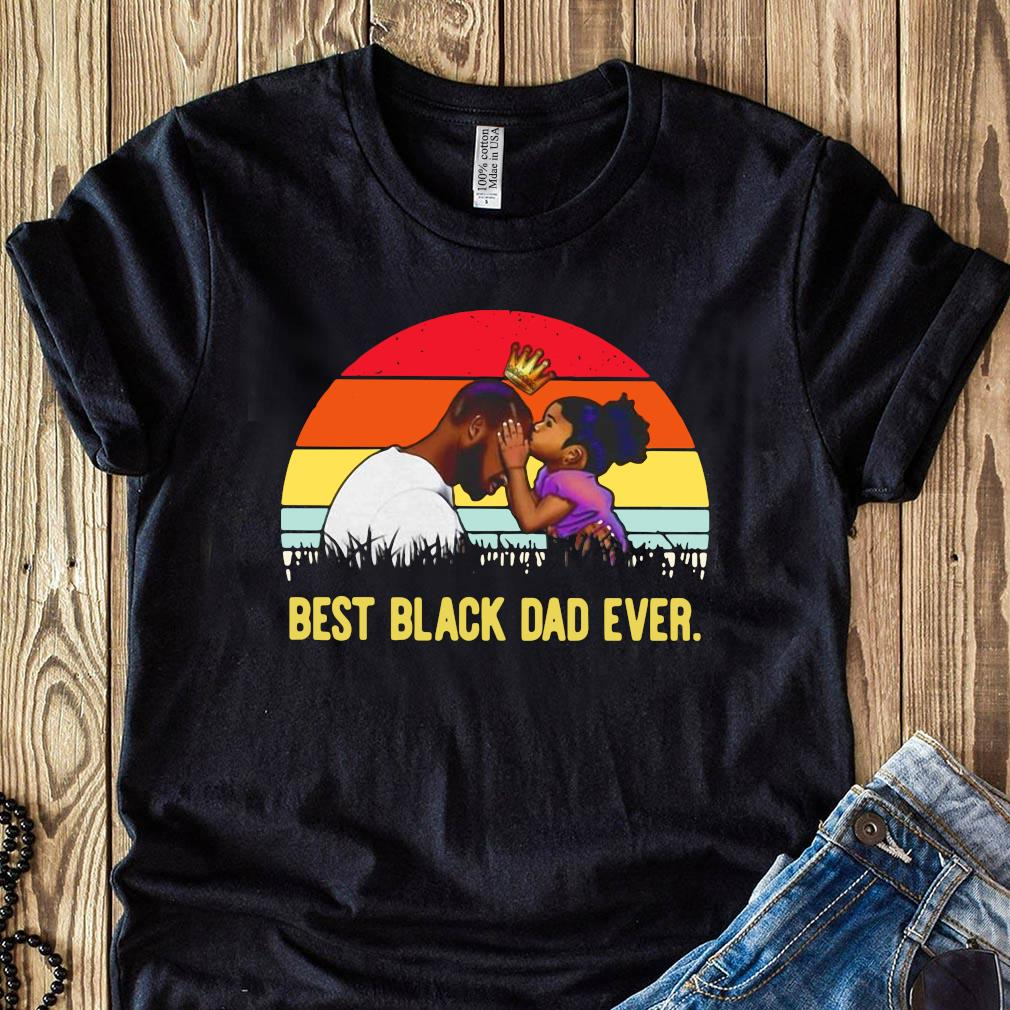 Best Black Dad Ever Sunset Vintage Shirt