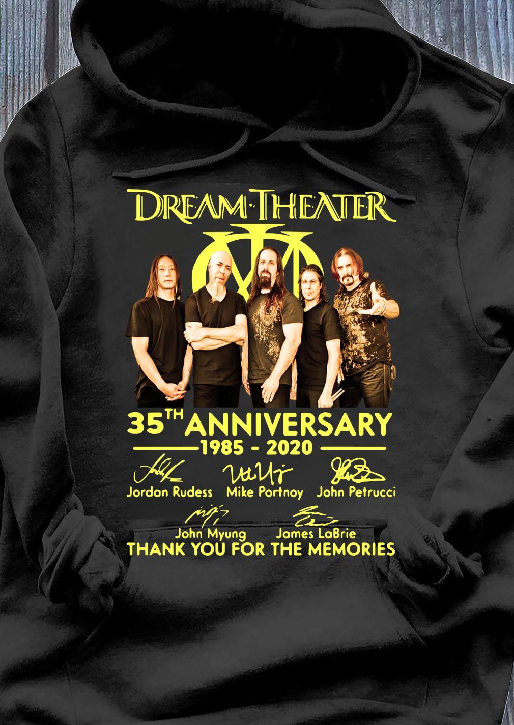 Dream Theater Progressive Metal Band 35th Anniversary 1985-2020 Member Signature Shirt Hoodie
