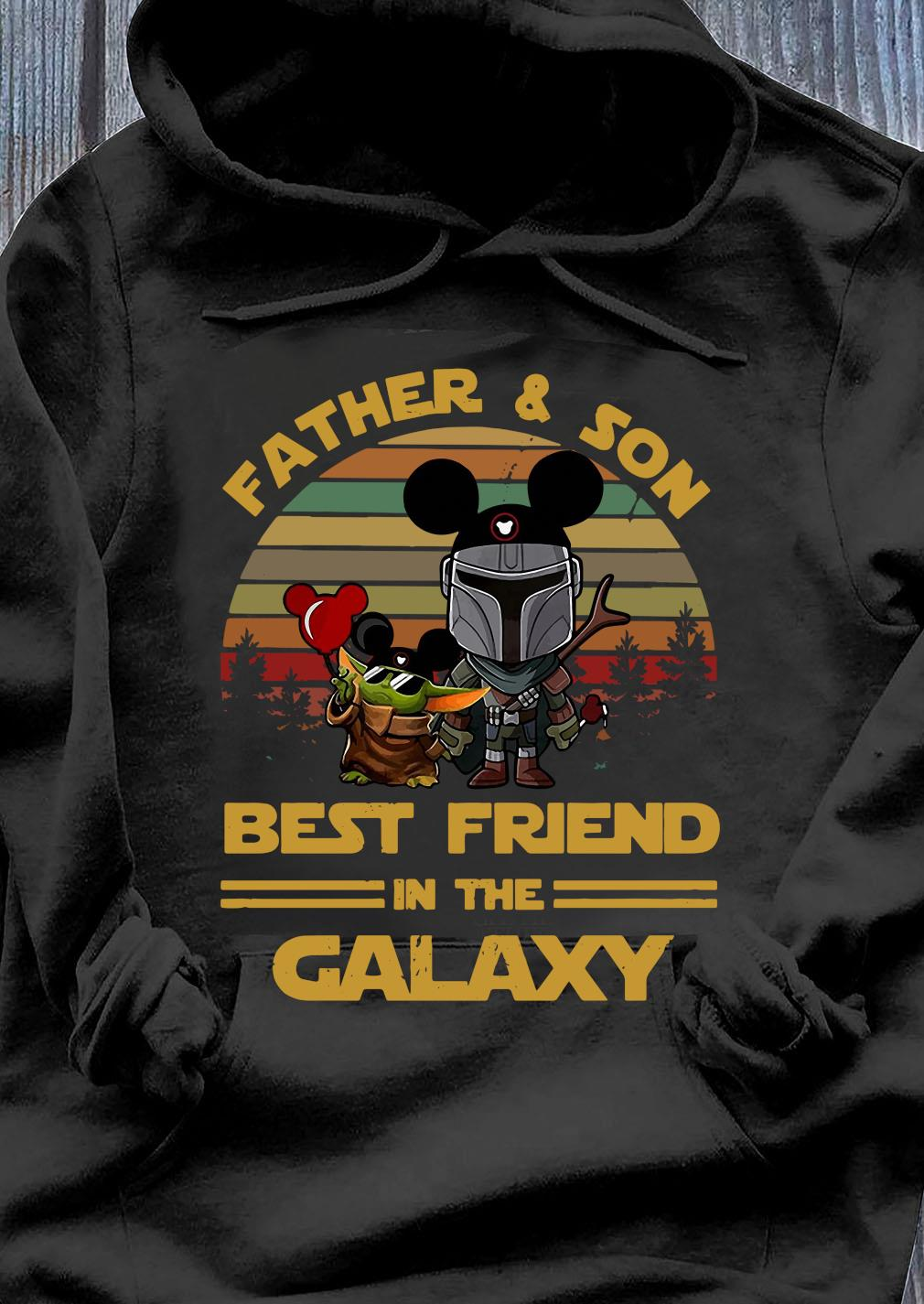 The Mandalorian And Baby Yoda Father And Son Best Friend In The Galaxy Vintage Shirt Hoodie