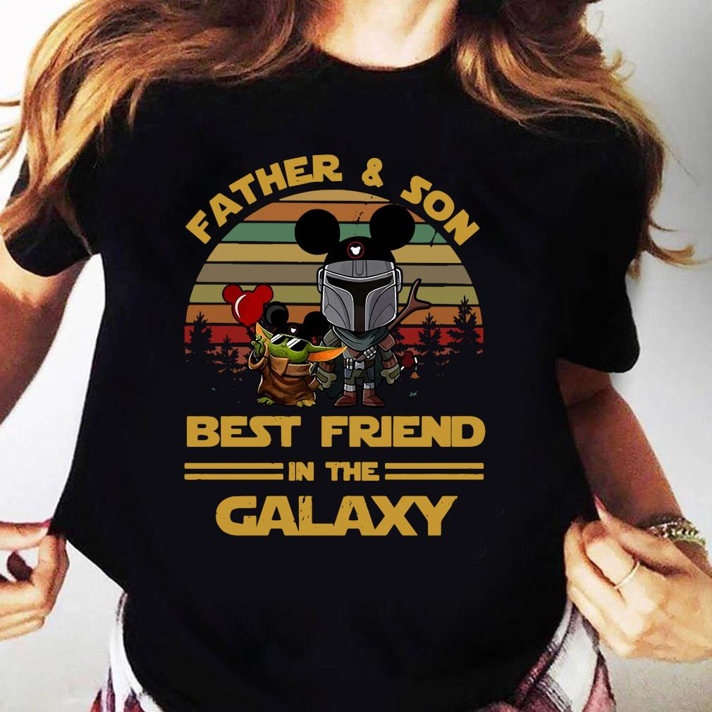 The Mandalorian And Baby Yoda Father And Son Best Friend In The Galaxy Vintage Shirt Ladies tee