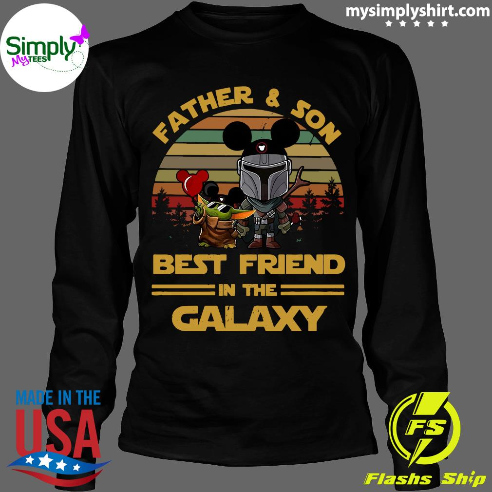 The Mandalorian And Baby Yoda Father And Son Best Friend In The Galaxy Vintage Shirt Longsleeve