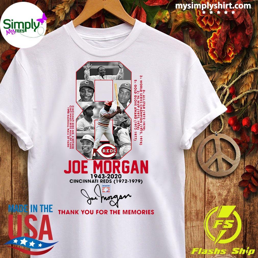 8 Joe Morgan 1943 2020 Cincinnati Reds Thank You For The Memories Signature Shirt Ladies tee