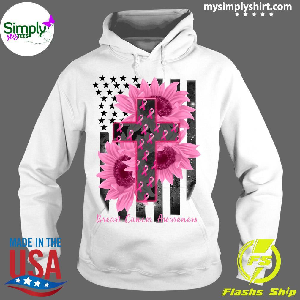 Cross Jesus Flowers Breast Cancer Awareness Flag Shirt Hoodie