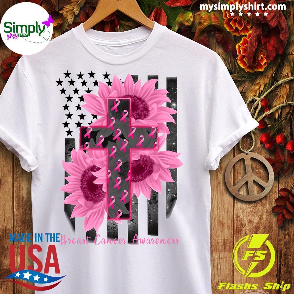 Cross Jesus Flowers Breast Cancer Awareness Flag Shirt Ladies tee