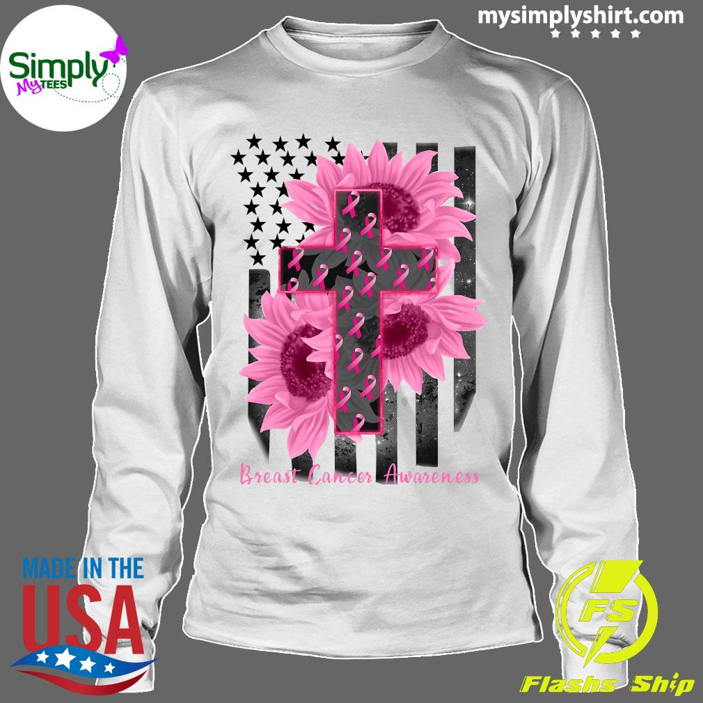 Cross Jesus Flowers Breast Cancer Awareness Flag Shirt Longsleeve