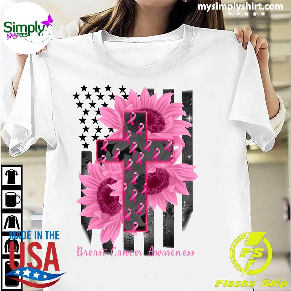 Cross Jesus Flowers Breast Cancer Awareness Flag Shirt