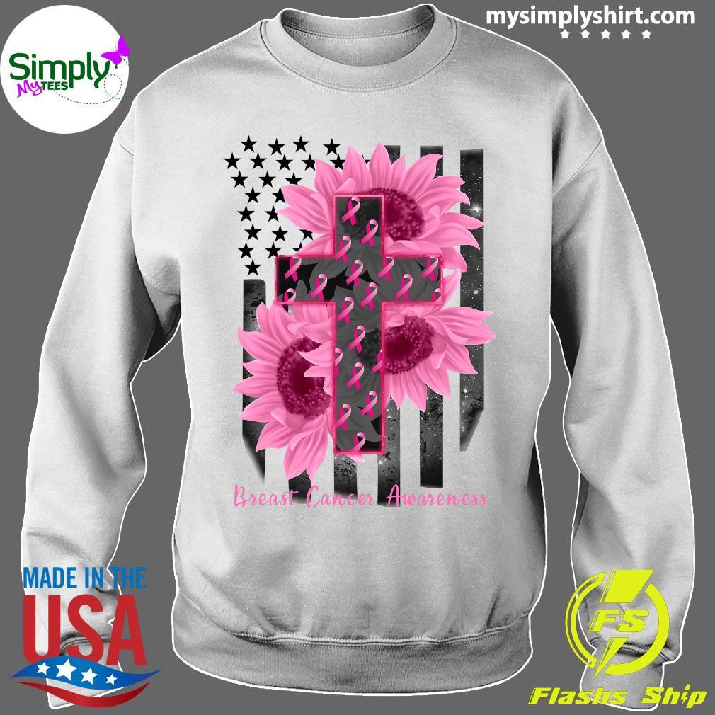 Cross Jesus Flowers Breast Cancer Awareness Flag Shirt Sweater