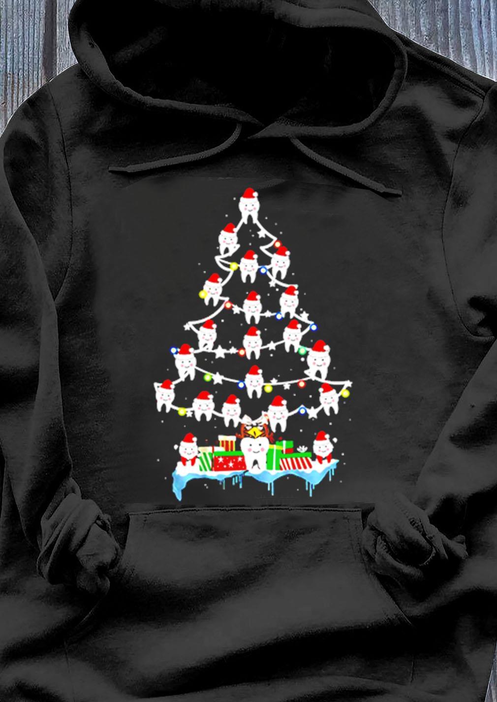 Dentist Dental Hygienist Teeths Christmas Tree Shirt Hoodie