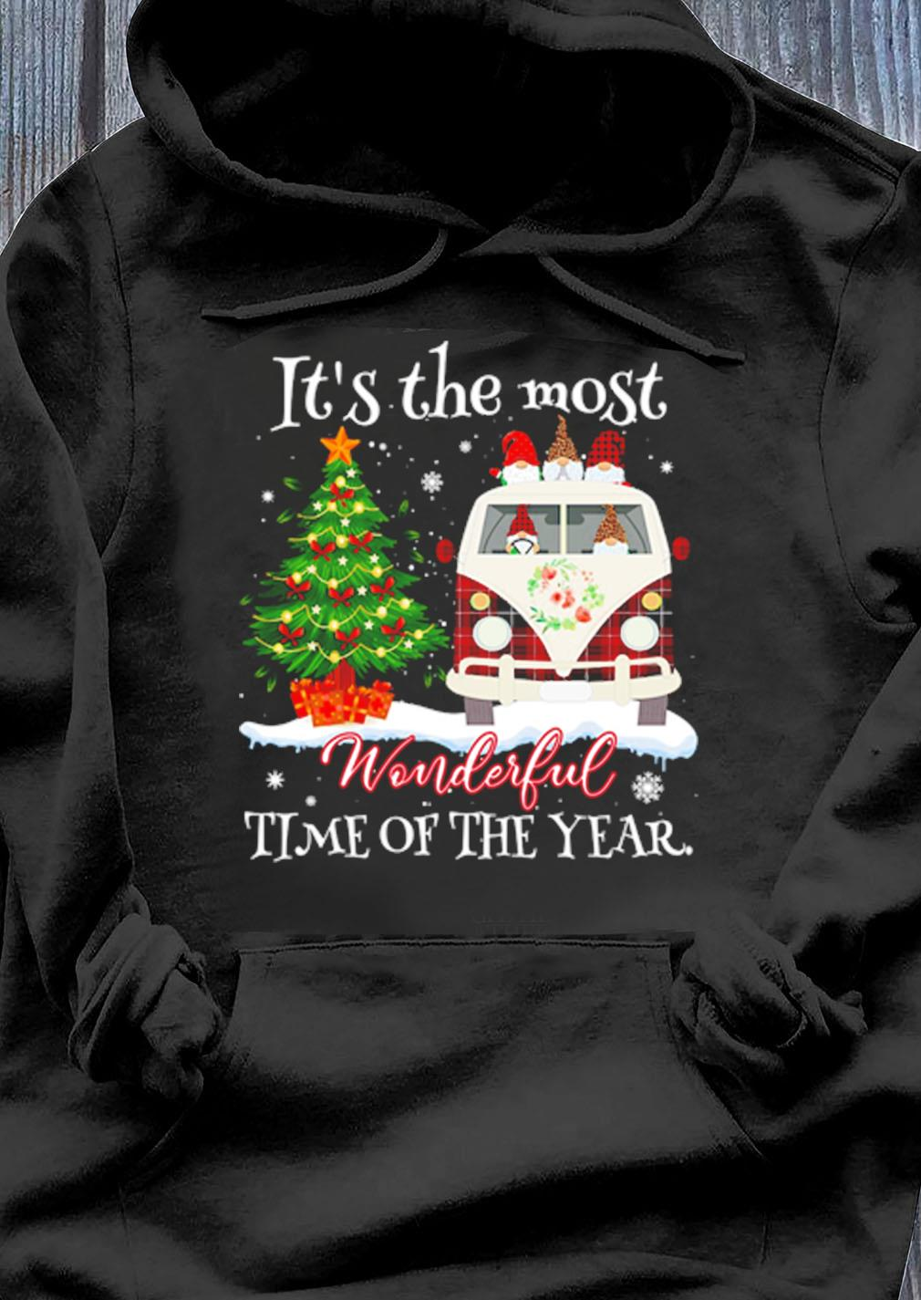 Gnomes Drive Hippie Car Its The Most Wonderful Time Of The Year Christmas Shirt Hoodie