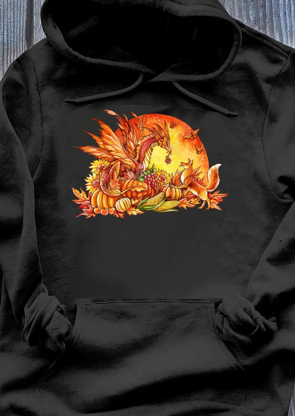 Halloween Pumpkin Dragon Fox Butterflies Shirt Hoodie