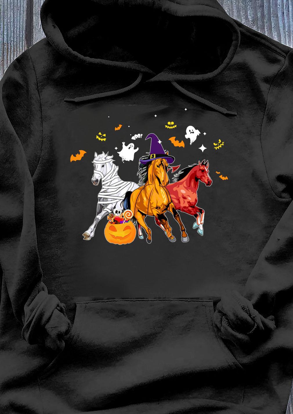 Horse Happy Halloween Pumpkin Shirt Hoodie