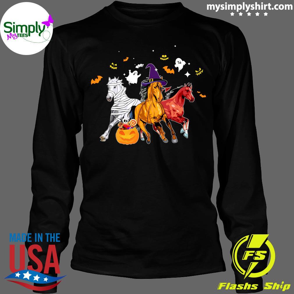 Horse Happy Halloween Pumpkin Shirt Longsleeve