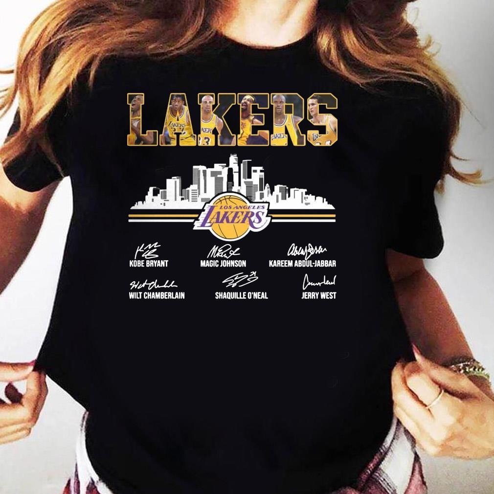 Lakers Los Angeles Kobe Bryant Magic Johnson Signature Shirt Ladies tee