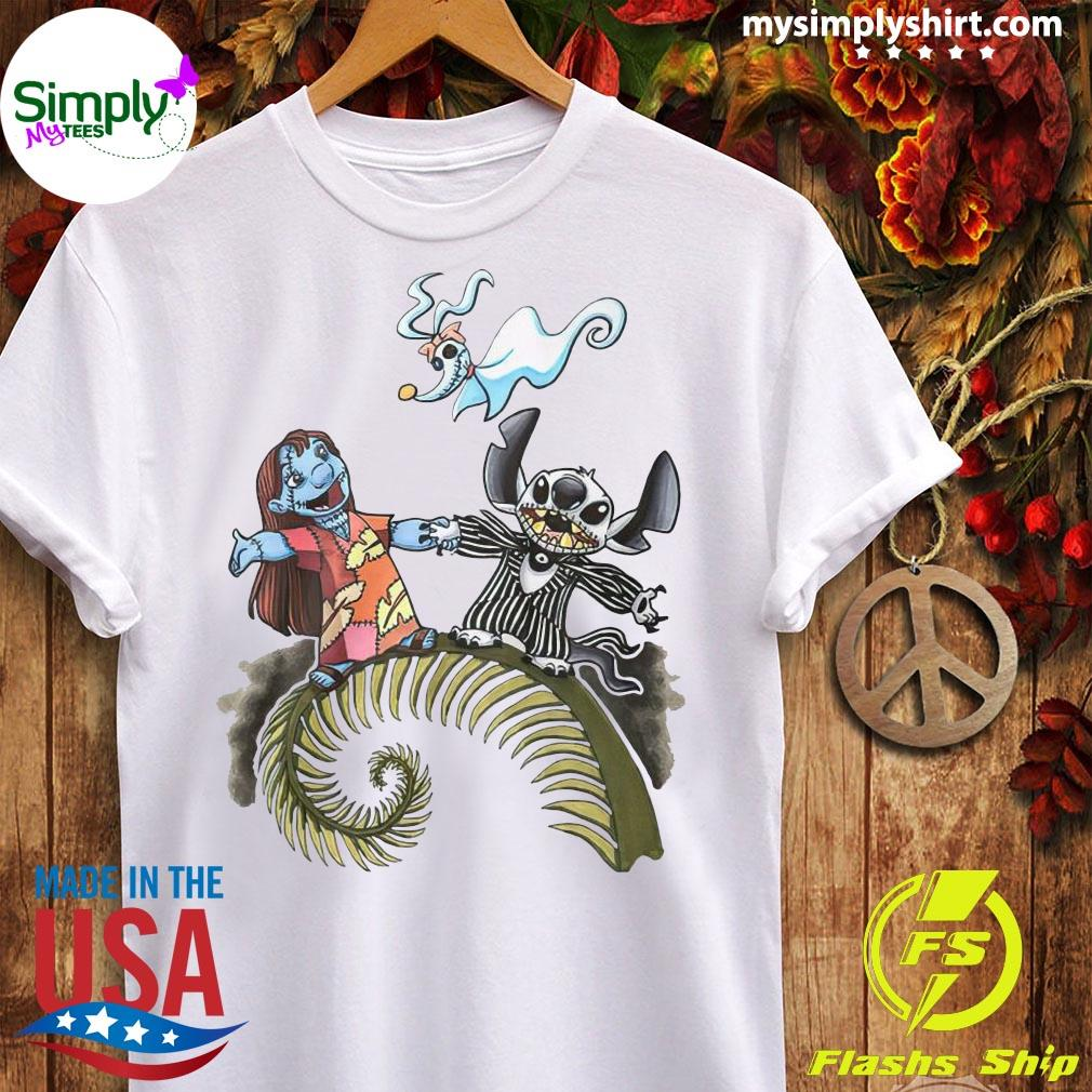 Lilo And Stitch Halloween Jack Skellington Sally Zero Shirt Ladies tee